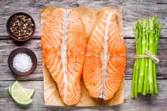 Fresh raw salmon fillet with asparagus and lime top view Royalty Free Stock Photography