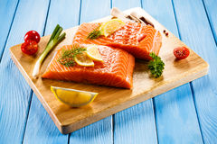 Fresh raw salmon fillet. On cutboard Royalty Free Stock Photography