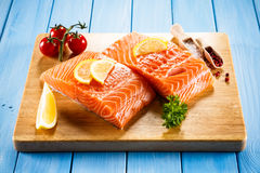 Fresh raw salmon fillet. On cutboard Stock Image