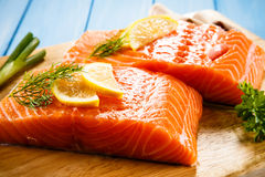 Fresh raw salmon fillet. On cutboard Royalty Free Stock Photo