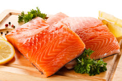 Fresh raw salmon fillet. On cutting board Stock Photography