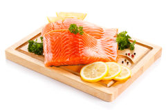 Fresh raw salmon fillet. On cutting board Royalty Free Stock Photography