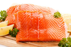 Fresh raw salmon fillet. On cutting board Stock Photos