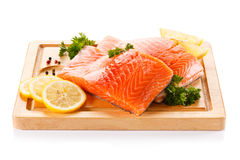 Fresh raw salmon fillet Royalty Free Stock Images