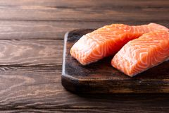 Fresh raw salmon fillet, flat lay Royalty Free Stock Photos