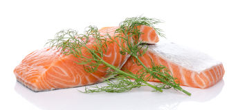 Fresh raw salmon fillet with herbs. Isolated on white Stock Photography