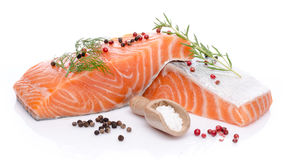 Fresh raw salmon fillet with herbs and spice Royalty Free Stock Photo