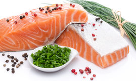 Fresh raw salmon fillet with herbs and spice Royalty Free Stock Photography