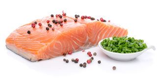 Fresh raw salmon fillet with herbs and spice Royalty Free Stock Image
