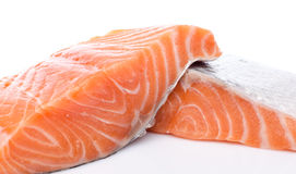 Fresh raw salmon fillet. Isolated on white Stock Image