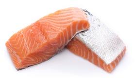 Fresh raw salmon fillet. Isolated on white Royalty Free Stock Photos
