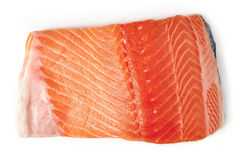 Fresh raw salmon fillet isolated on white, from above Stock Photography