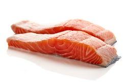 Fresh raw salmon fillet isolated on white Royalty Free Stock Photos