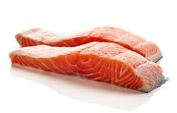 Fresh raw salmon fillet isolated on white. Background Royalty Free Stock Photos