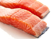 Fresh raw salmon fillet isolated on white Stock Photo