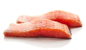 Fresh raw salmon fillet isolated on white Royalty Free Stock Photo