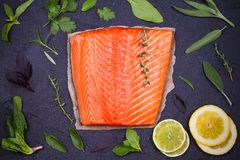 Fresh raw salmon fillet with lemon, lime, sage, mint, spinach, cilantro, thyme and rosemary. Healthy food concept on black backgro. Und. View from above, top Stock Photography