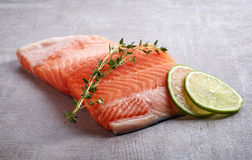 Fresh raw salmon fillet with lime and rosemary. On grey table Stock Photography
