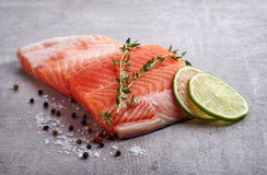 Fresh raw salmon fillet with lime, rosemary, pepper and salt. On grey table Royalty Free Stock Photos
