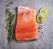 Fresh raw salmon fillet with lime, rosemary, pepper and salt. On grey table, top view Royalty Free Stock Images