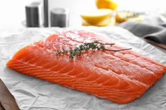 Fresh raw salmon fillet on parchment. Closeup Royalty Free Stock Images