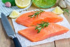Fresh raw salmon fillet Royalty Free Stock Photos