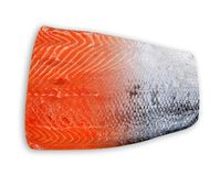 Fresh raw salmon fillet with skin. Fresh raw salmon fillet with skin isolated on a white background Royalty Free Stock Photo