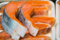 Fresh raw salmon fillet. In street market,Ameyoko, Tokyo, Japan Royalty Free Stock Photo