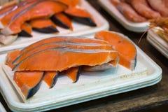 Fresh raw salmon fillet. In street market,Ameyoko, Tokyo, Japan Stock Images