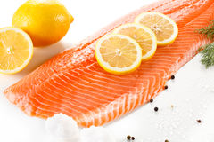 Fresh raw salmon fillet. On white Royalty Free Stock Photos