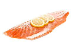 Fresh raw salmon fillet. On white Stock Image