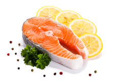 Fresh raw salmon fillet. On white background Royalty Free Stock Photo