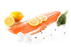 Fresh raw salmon fillet. On white background Stock Photos