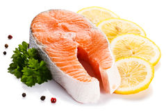 Fresh raw salmon fillet. On white background Stock Image