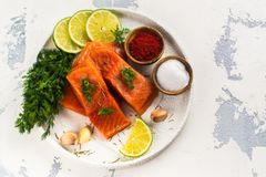 Fresh raw salmon fillet. On white kitchen table. Copy space Royalty Free Stock Photography