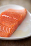 Fresh raw salmon fillet. On white plate, selective focus Stock Photos