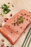 Fresh raw salmon fillet on wood background. Fresh raw salmon fillet on wood background Stock Photos