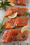 Fresh Raw Salmon Fillets with Herbs and Spices. Selection of Herbs and Spices with fresh fillets of Wild Raw Salmon on a baking tray. Ingredients includes pink Royalty Free Stock Image