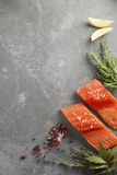 Fresh Raw Salmon Fillets with Herbs and Spices. Selection of Herbs and Spices with fresh fillets of Wild Raw Salmon on a grey slate background. Ingredients Royalty Free Stock Photos