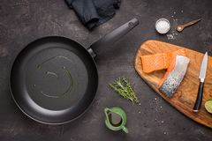 Fresh Raw Salmon Fish Preparation. With Cooking Ingredients royalty free stock photography