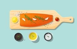Fresh raw salmon fish and spices on wooden cutting board, food preparation. Vector, illustration Royalty Free Stock Images