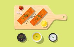 Fresh raw salmon fish and spices on wooden cutting board, food preparation. Vector, illustration Stock Image