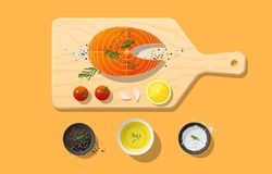 Fresh raw salmon fish and spices on wooden cutting board, food preparation. Vector, illustration Stock Photo