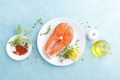 Fresh raw salmon fish steak with ingredients for cooking. Top view stock photography