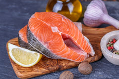 Fresh raw  salmon Stock Images