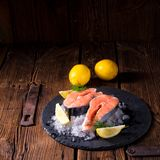 Fresh raw salmon on ice. A fresh raw salmon on ice Stock Image