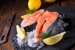 Fresh raw salmon on ice. A fresh raw salmon on ice Stock Photos