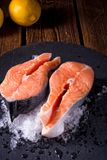 Fresh raw salmon on ice. A fresh raw salmon on ice Royalty Free Stock Photo
