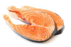 Fresh raw salmon isolated on white background Stock Images