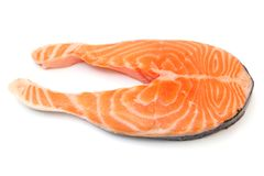 Fresh raw salmon isolated on white background Royalty Free Stock Images
